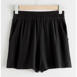 & Other Stories Micro Dot Printed Black Shorts